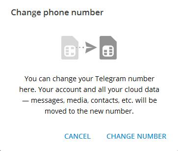 تغییر شماره تلفن در تلگرام